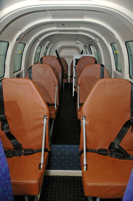 Aero Twin, Inc. TSO seats installed in a PAC750XL aircraft, covered in brown leather.